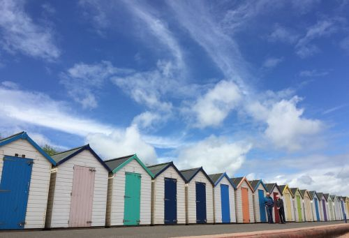 beach huts huts sea