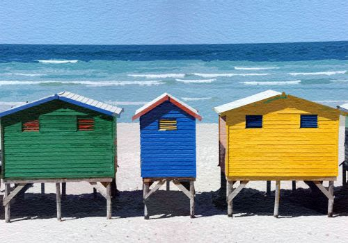 Beach Huts Watercolor Painting