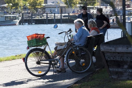 beach promenade  bike  seniors