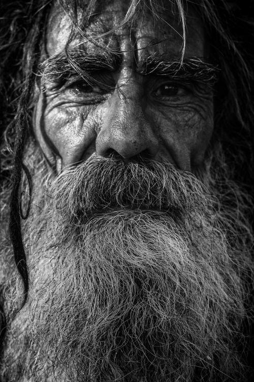 beard close-up dark