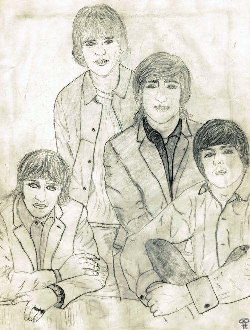 beatles drawing pencil drawing