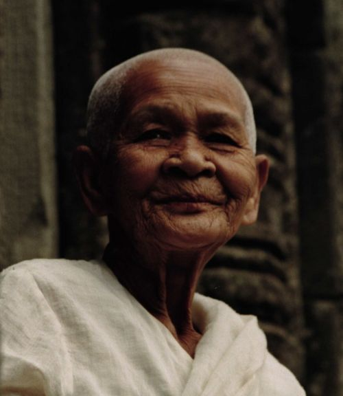 beautiful elderly woman buddhist nun smile