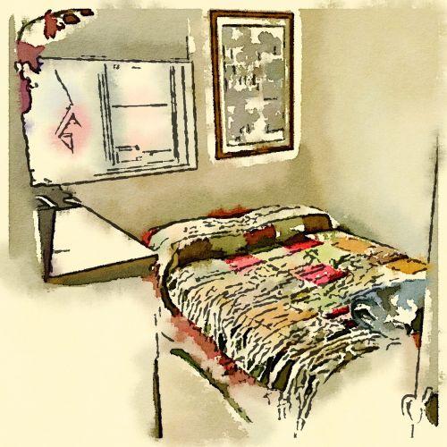 bedroom watercolor drawing