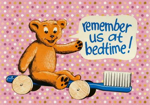 Bedtime Girls Toothbrush Teddy Sign