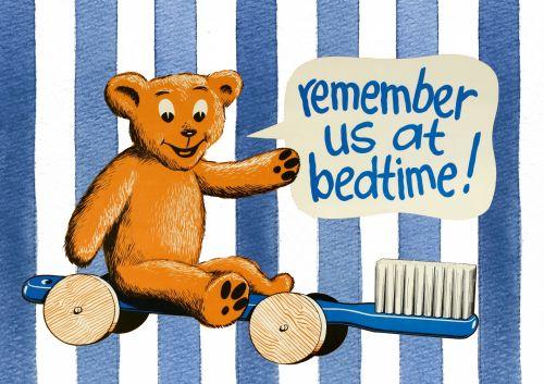 Bedtime Kids Toothbrush Teddy Sign