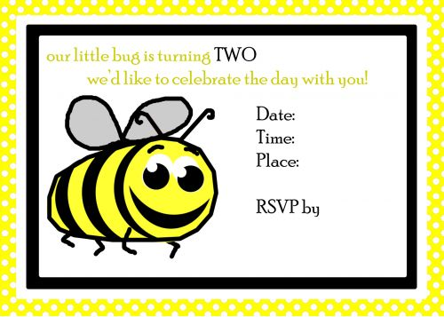 Bee 2nd Birthday Invite