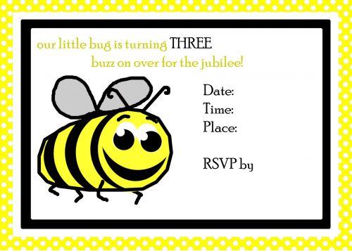 Bee 3rd Birthday Invite