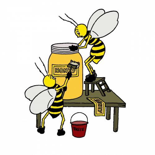 Bee With Honey Illustration