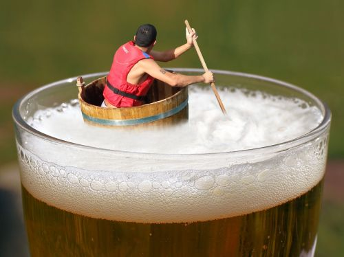 beer afloat drifting