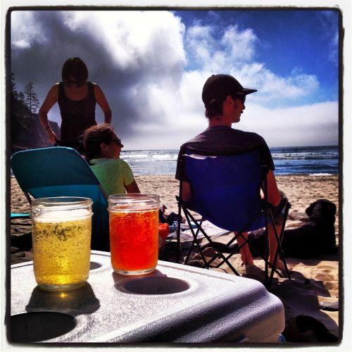 beer relaxing beach