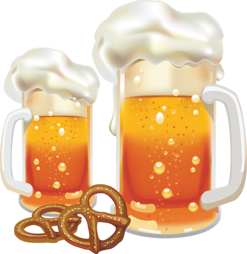 beer  pretzels  foam