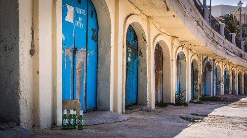beer bottle  garage door  blue