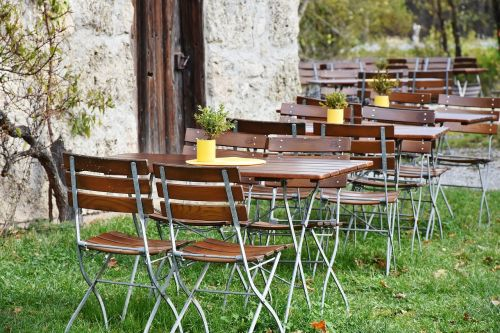 beer garden chairs dining tables