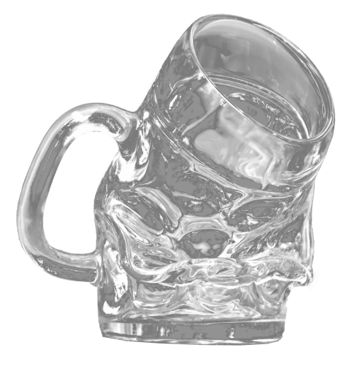 beer glass askew isolated