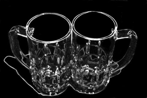 beer mugs pair glass tankard