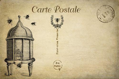 Bees, Beehive Vintage Postcard