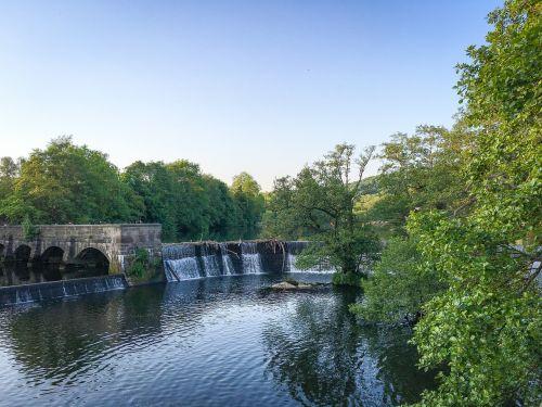Belper,Derbyshire,piko rajonas,upė,weir,piko,rajonas,Anglija,upių sodai,sodai