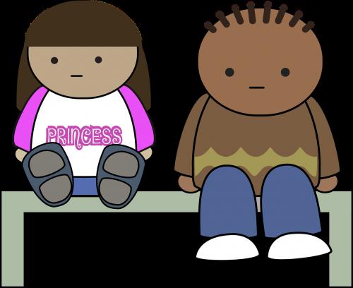 stendas,berniukas,animacinis filmas,charakteris,komiksas,mergaitė,vaikai,princesė,sėdėti,sėdi,nemokama vektorinė grafika