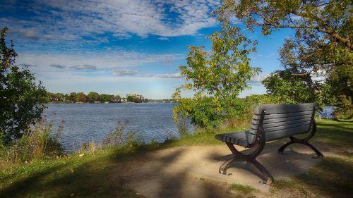bench riverside park