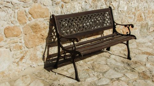 bench wooden wall