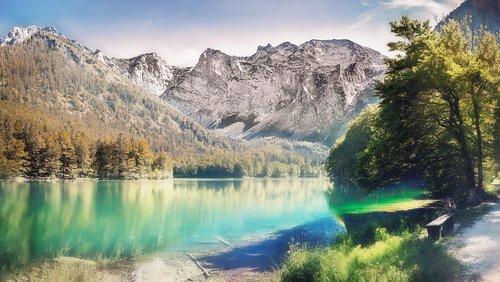 Bergsee, Austrija, žygis, bankas, pertrauka, kalnų, kraštovaizdis, Peržiūrėti, Panorama, pobūdį, nuotaika, Alpine, ežeras, Alpine kraštovaizdis, Švarus, Mountain Lake, Alpių ežeras, kalnų kraštovaizdis