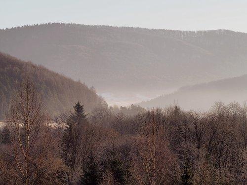 beskids  mountains  the fog