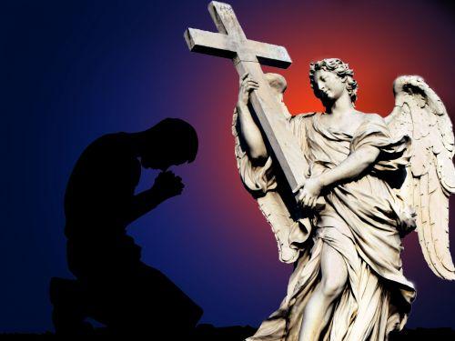 angelas, Patinas, sparnai, šviesa, debesys, statyti, priežiūra, melstis, melstis