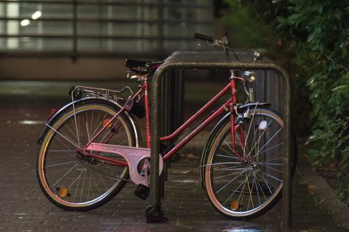 bicycle night parked