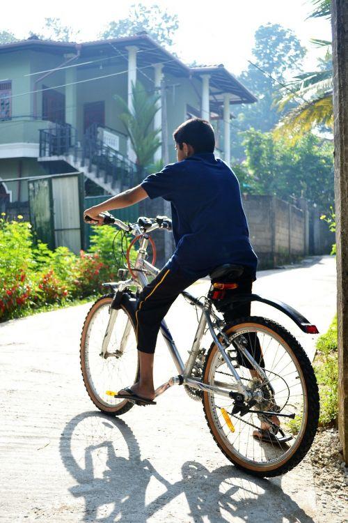 dviratis,berniukas,rytas,atgal šviesa,kelias,Sportas,kalnų dviratis,Šri Lanka,Mawanella,ceilonas