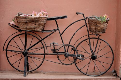 bicycle bicycle with baskets baskets of esparto grass