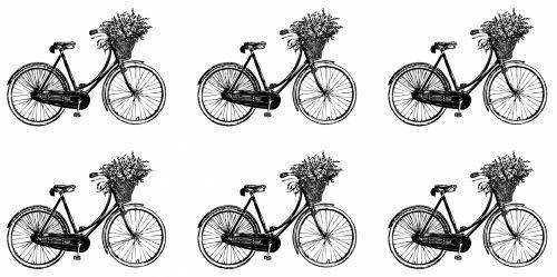 Bicycle Flowers Vintage Wallpaper