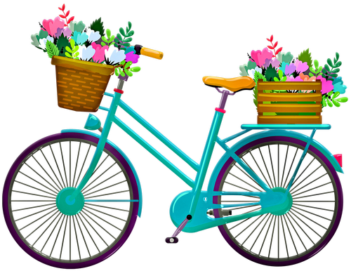 bicycle with flowers  bicycle basket  bike