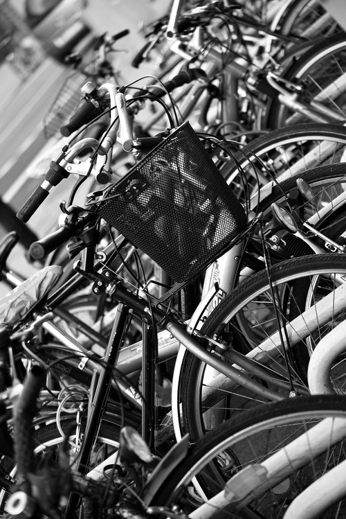 bicycles  bicycle basket  downtown