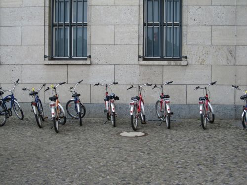 bicycles bikes parked