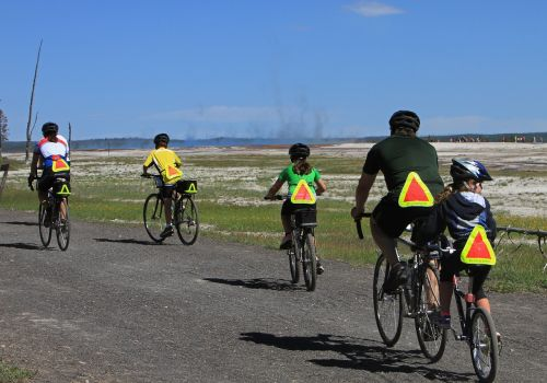 bicyclists family riding
