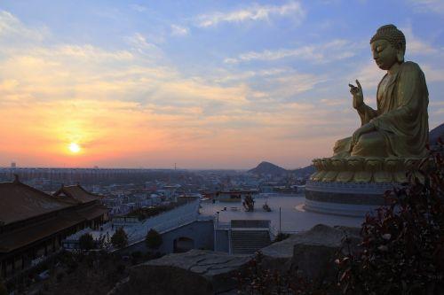 big buddha buddha statues sunset