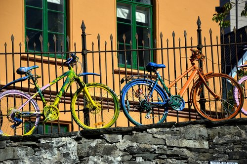 bike  fence  colorful