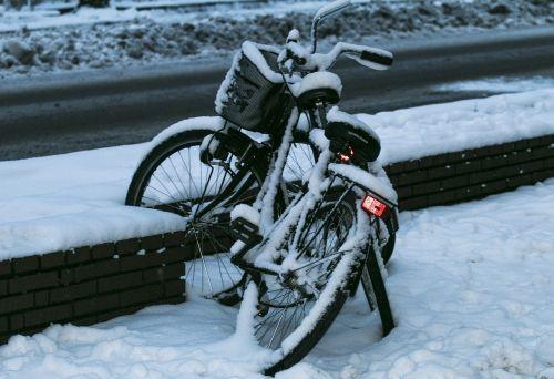 bike winter snowed in