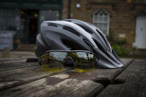 Bike Helmet And Sport Sunglass