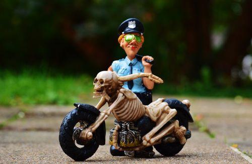 biker skeleton policewoman