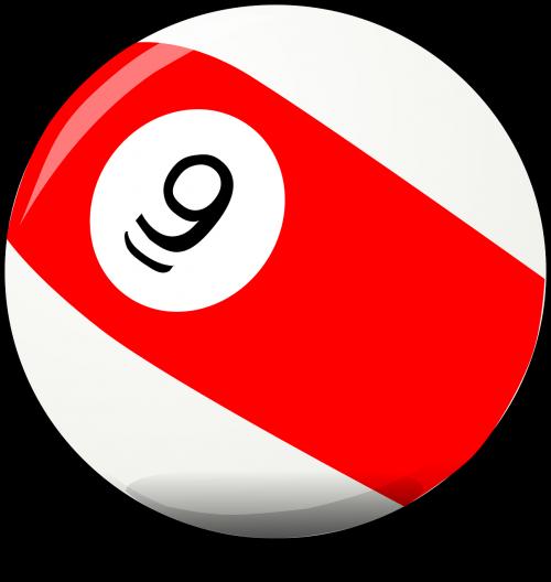 biliardo kamuolys,baseino kamuolys,raudona,rutulys,apvalus,9,nemokama vektorinė grafika