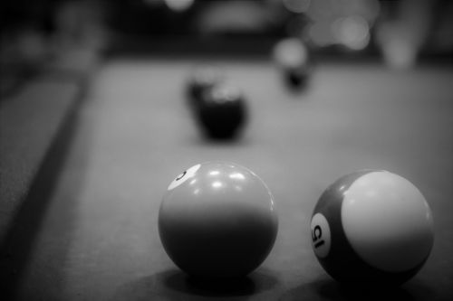 billiards black and white ball