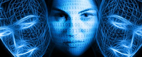binary code woman