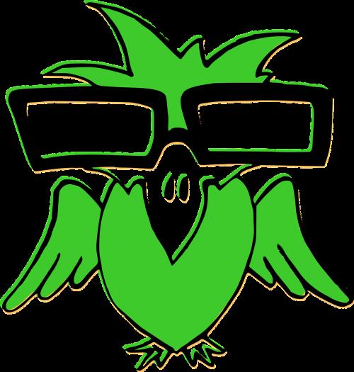 bird green glasses