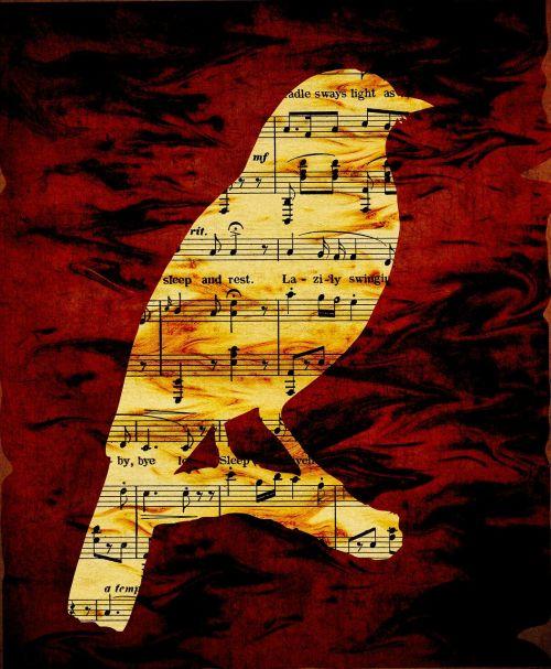 bird silhouette musical notes