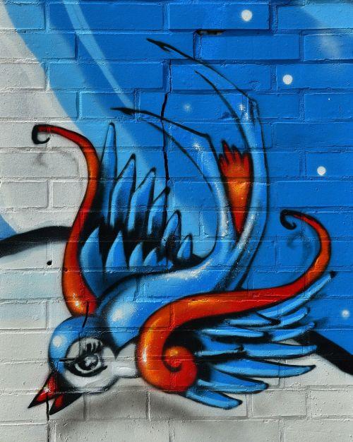 bird graffity hauswand