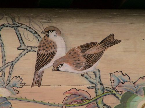 birds sparrows ceiling painting
