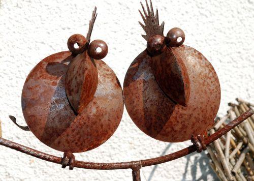 paukščiai,geležis,figūra,sodo figūrėlės,pora
