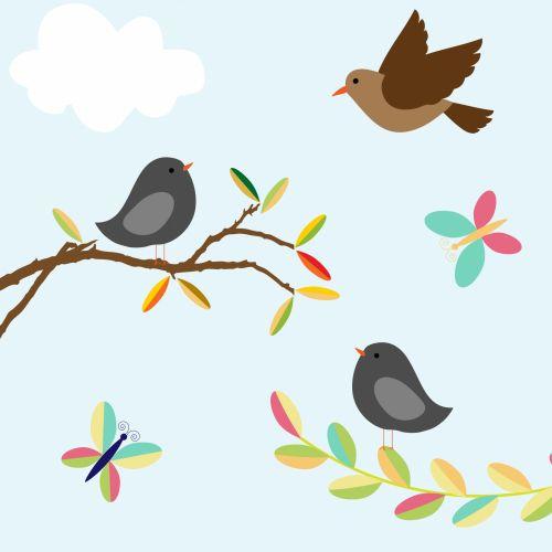 Birds, Butterfly Nature Clipart
