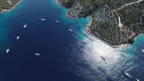 bird's eye view sea yachts